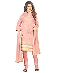 Cute and Elegant Designer Cotton traditional look Embroidery work Pink Un Stitched Branded Salwar Suit Dress Material for women From Lookslady