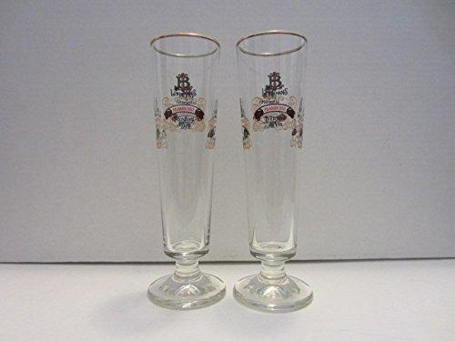 set-of-2-lindemans-merchant-du-vin-framboise-kriek-peche-pomme-belgian-lambic-beer-gold-rim-flute-gl