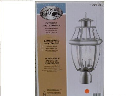 HAMPTON BAY EXTERIOR POST LANTERN MATTE NICKEL FINISH MODEL #394-834