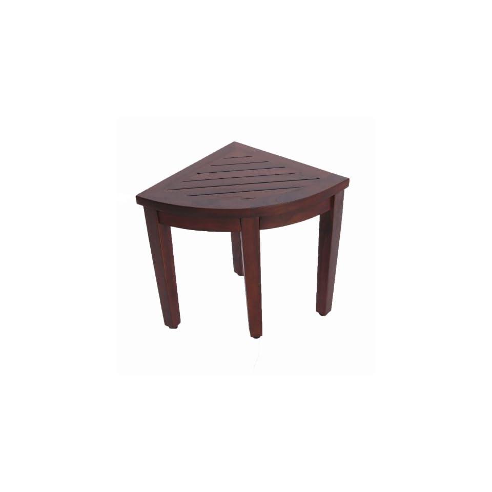 Oasis Bathroom Teak Corner Shower Seat Stool Chair Bench  Sitting, Storage, or Foot Rest