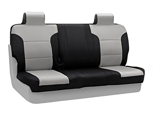 Coverking Custom Fit Front 60/40 Back Seat Cover For Select Ford F-150 Models - Neosupreme 2-Tone (Gray With Black Sides) back-68943