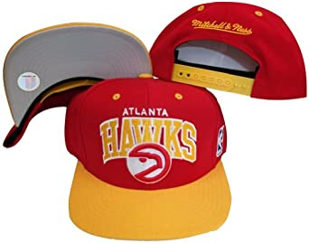 Atlanta Hawks Red Yellow Two Tone Snapback Adjustable Plastic Snap Back Hat Cap by Mitchell & Ness