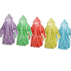 Generic 12pcs Disposable Emergency Adult Hood Raincoat for Camping Hiking Travel