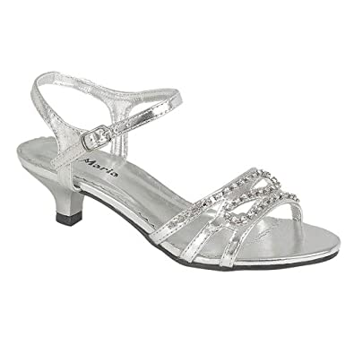Onlineshoe Girls Low Heel Wedding Bridesmaid Party Gold Silver Diamante Shoes Sandals 8 2 JUNIOR