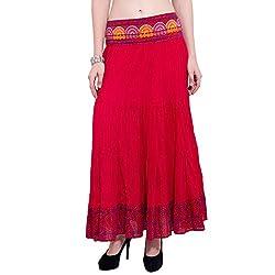 TUNTUK Women's Lisa Skirt Red Viscose Skirt