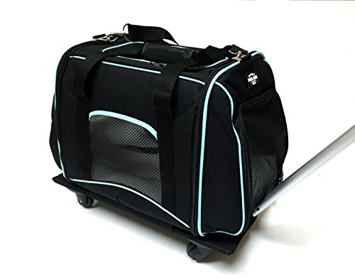 Bark and Meow Premium Pet Travel Tote Carrier Bag with Detachable Roller System and Silicone Pet Bowl for Dog and Cat (Black / Aqua)