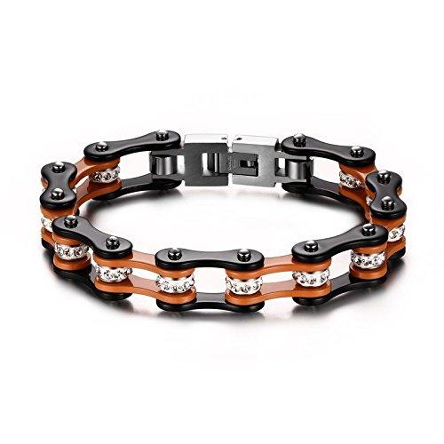 """YSM da 200 mm 19,99 cm (7,87"""") Bracciale con catena per moto, 10 mm, larghezza Bracciale rigido in acciaio INOX 316L a catena con Poposh-Lucido da polso per uomo e donna, nero e arancione"""