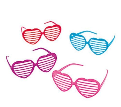 12 Plastic Heart Shaped Shutter Shading Glasses