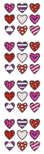 Jillson Roberts Prismatic Stickers, Micro Valentine Pattern Hearts, 12-Sheet Count (S7502)