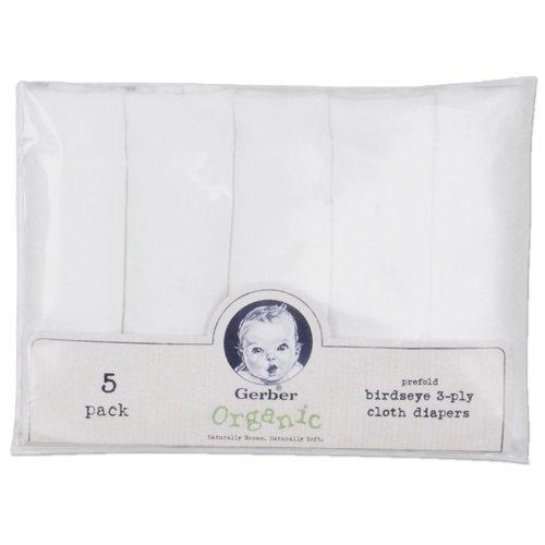 Gerber 5 Pack Prefold Birdseye Organic Diaper, White