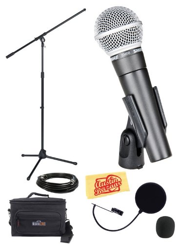 Shure Sm58-Lc Vocal Microphone Bundle With Boom Stand, Gear Bag, Pop Filter, Xlr Cable, Mic Clip, Windscreen, And Polishing Cloth
