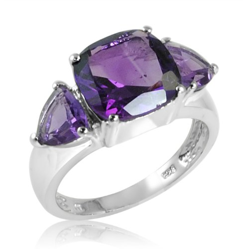 4ct tw Cushion and Trillion Cut Amethyst Ring in Sterling Silver ( Available Sizes 5-8) sz7