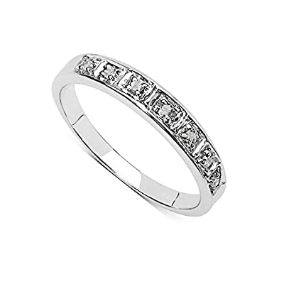 The Diamond Ring Collection: Beautiful 3mm Width 9CT White Gold 0.08CT Diamond Eternity Ring