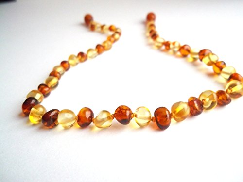 Certified Natural Batlic Amber Baby Teething Necklace - Mixed Cognac & Honey Baroque - *SCREW CLASP* *SAFETY KNOTTED* - 1