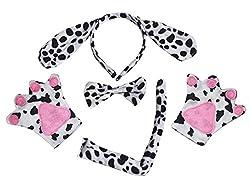 Dalmatians Dog Headband Bowtie Tail Gloves Black Tutu 5pc Girl Costume for Party