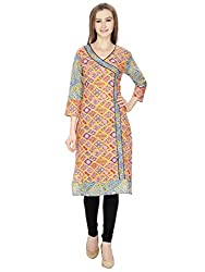 Agroha Orange Cotton Angrakha Style Kurta 3/4th Sleeves (Kurti, Kurta)