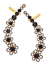 The Jewelbox Floral Delight 18K Gold Plated Black Spinel Polki Ear Cuff Pair For Women