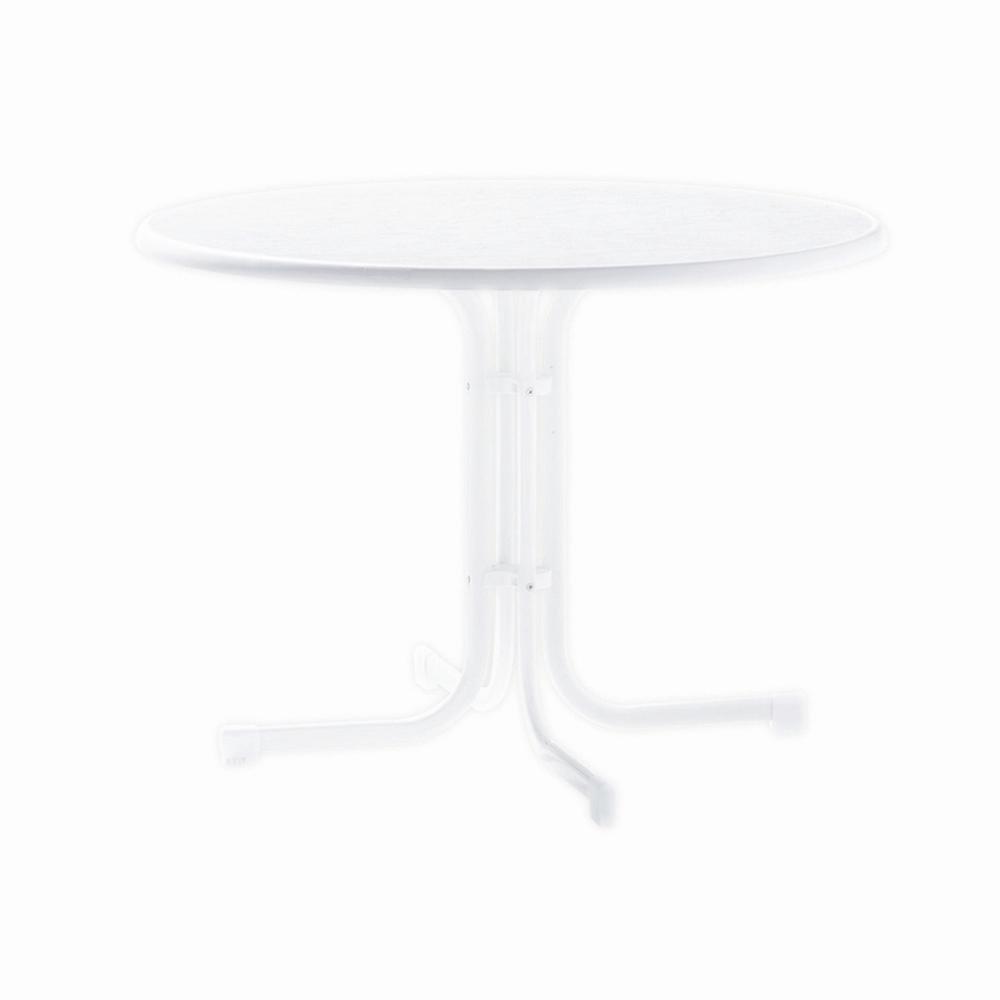 Sieger 136/W Boulevard-Klapptisch mit mecalit-Pro-Platte Ø 100 cm, Stahlrohrgestell weiß, Tischplatte Marmordekor weiß jetzt kaufen