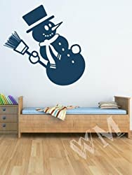 WALLMANTRA Snowman with Broom Wall Decal Wall Sticker - XL(30x39 inches)
