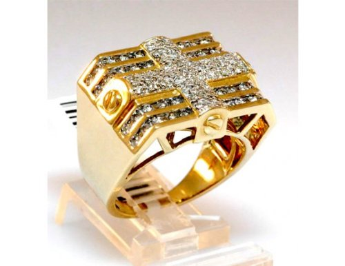 Techno Master Men's 2.25ct Diamond Ring Yellow Gold - Hip Hop Jewelry