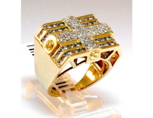 Techno Master Men's 2.25ct Diamond Ring Yellow Gold - Hip Hop Jewelry