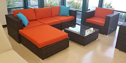 Six 6 Piece Rattan Outdoor Sofa Patio Garden Couch Furniture Set with 3 Red Throw Pillows