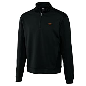 NCAA Mens Texas Longhorns Black Drytec Edge Half Zip Jacket by Cutter & Buck