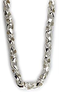 Mens large twisted bullet link chain in sterling silver