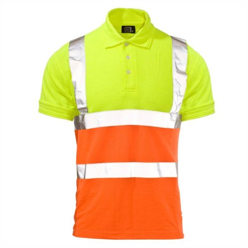 Supertouch Hi-Visibility Two Tone Work Wear Safety Polo T-Shirt Mens S-4XL