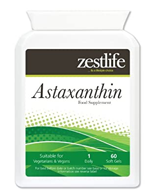 Zestlife Astaxanthin 4mg Capsules - Pack of 60 easy to swallow capsules. Cellular antioxidant protection support for visual acuity and eye health
