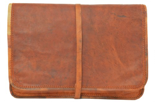 "Gusti Leder nature ""Chuck"" Genuine Leather Laptop 10,1'' Tablet iPad Padded Sleeve Pouch Case Casual Smart College Uni Brown Vintage Unisex L9"