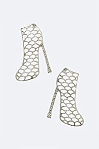 Chic Chelsea Iconic Crystal Bootie Post Earrings (Rhodium)