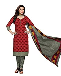 Drapes Women's RedCotton printed Dress Material (Unstitched)