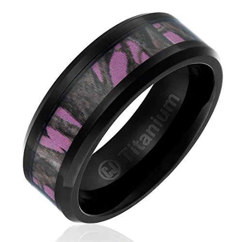 8MM Titanium Promise Engagement Rings for Women | Wedding Bands for Her | Camouflage Inlay with Pink Background [Size 9] (Camouflage Rings For Men compare prices)