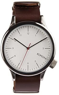 Komono - Magnus Mens Large Metal Case Watch - Silver Burgundy