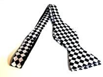 Marlon Garci 100% Silk Bow Tie - Black & White Diamond Design