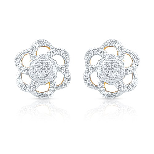Mahi CZ Collection White Gold Plated CZ Stones Stud Earrings For Women-ER1193548G (multicolor)