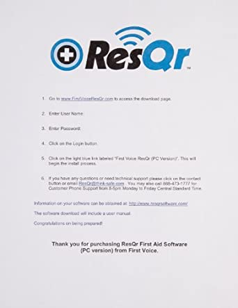 ResQr R1000-PPC First Aid Guide Software License for Windows Mobile Devices