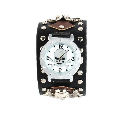 Yesurprise New Fashion Rivets Punk Rock Style Skull Leather Band Unisex Bracelet Wrist Watch For Graduation Party Gift Trendy #1 - Amazon UK