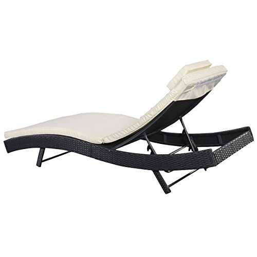 Giantex Adjustable Pool Chaise Lounge Chair Outdoor Patio Furniture Pe Wicker