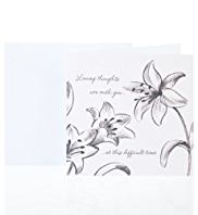Sketchy Floral Sympathy Greetings Card