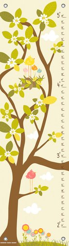 Oopsy Daisy in The Branches Cream Finny and Zook Growth Charts, Pastel Yellow, 12 x 42""