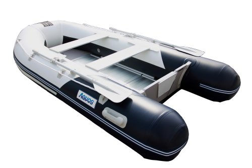 Image of Aquos 1.2mm PVC 9.8 Feet Inflatable Boat Tender Yacht Dinghy - White with Blue - (SR300AWB12W)