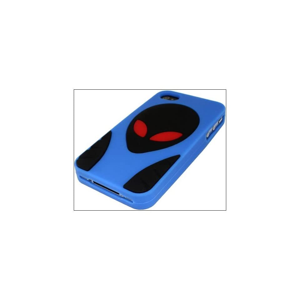 Hot Cool Extraterrestrial design soft silicone back case cover For iPhone 4s 4 AT&T Verizon Dblue