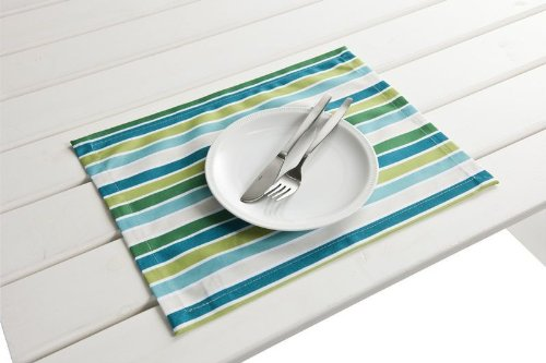 "4 Stück Outdoor TISCHSET ""Antibes blau-grün"" Placemat Gartentisch Tisch- Platzset abwaschbar 30cmx40cm online bestellen"