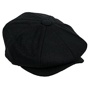 Men's Classic 8 Panel Wool Blend Newsboy Snap Brim Collection Hat