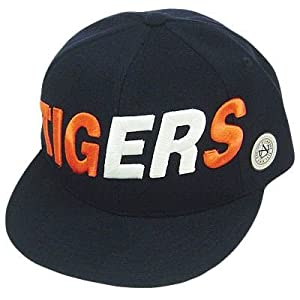 HAT CAP DETROIT TIGERS MLB AMERICAN NEEDLE FLAT BILL FITTED SIZE 7 5 8 NAVY BLUE by American Needle