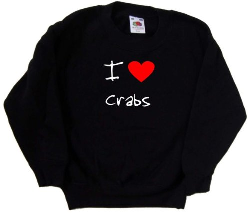 I Love Heart Crabs Black Kids Sweatshirt (White & Red print)-5-6 Years