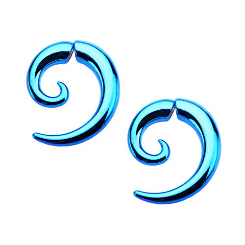 Magnetic Summer style Blue Spiral fake faux tapers Sold AS PAIR w 107