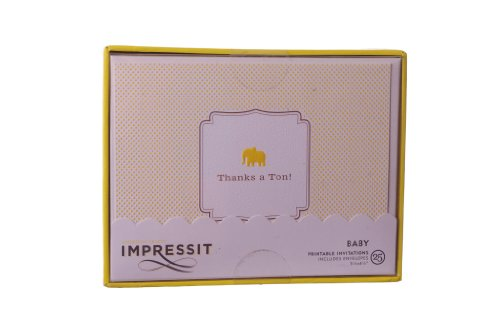 """Impressit 25 Baby Yellow Printable Shower Thank You Cards 5.5"""" X 4.25"""""""